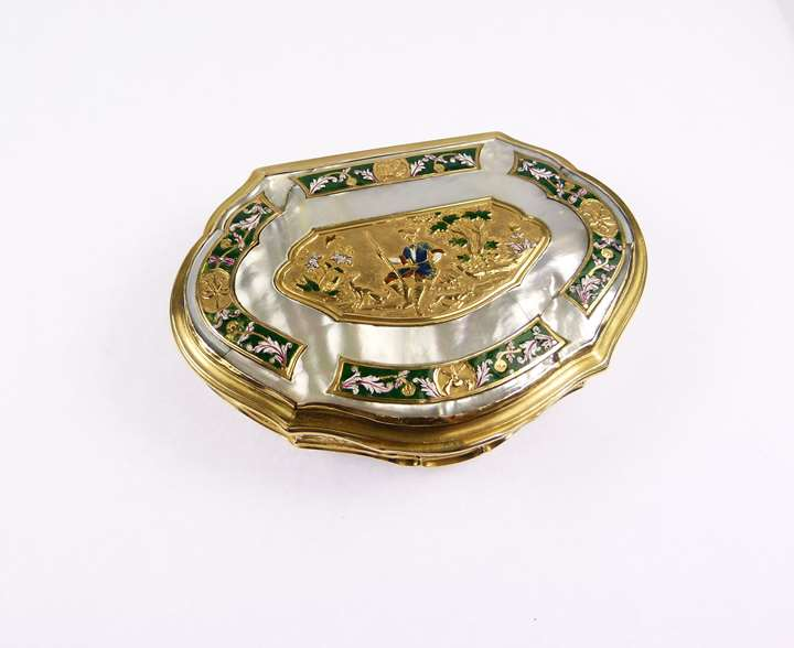 Louis XV cartouche shaped gold mounted mother-of-pearl and enamel box