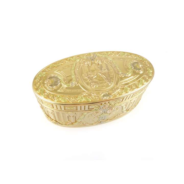 Louis XV four colour gold oval box