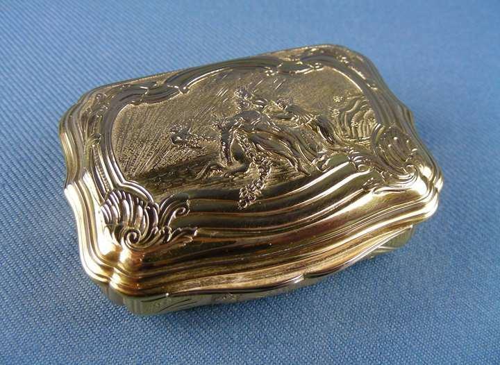 Louis XV gold cartouche shaped box chased and engraved to the cover with Europa and the Bull