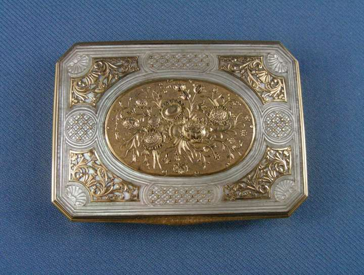 Louis XV gold mounted mother-of-pearl box