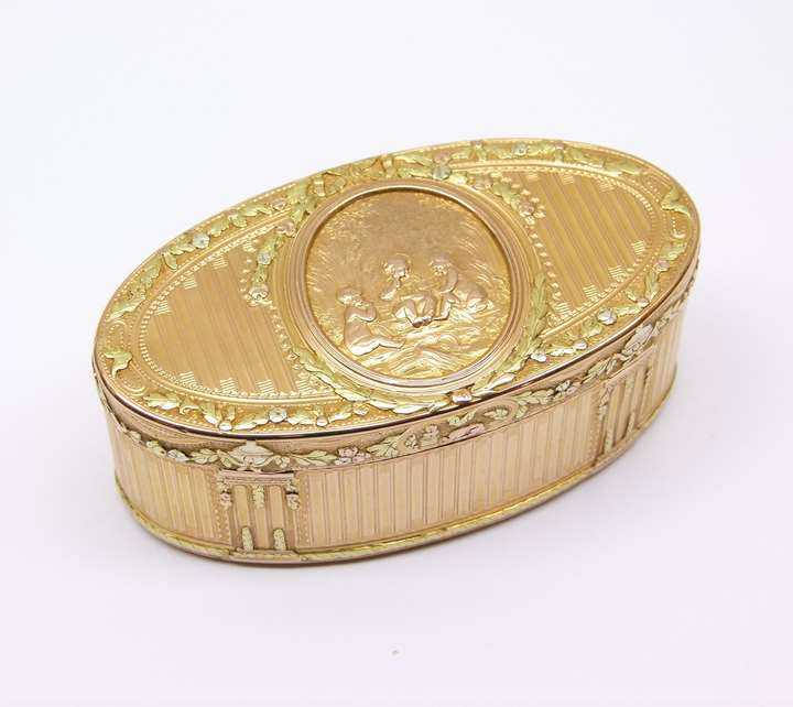 Louis XV long oval three colour gold box