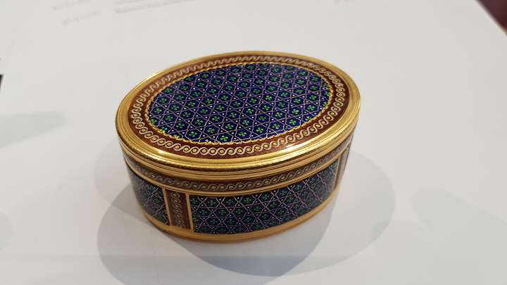 Louis XV oval enamelled gold box, enamelled all over with diaper pattern on blue ground