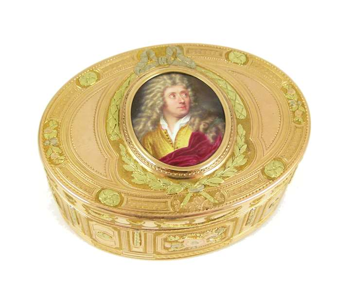 Louis XV oval three colour gold box with miniature