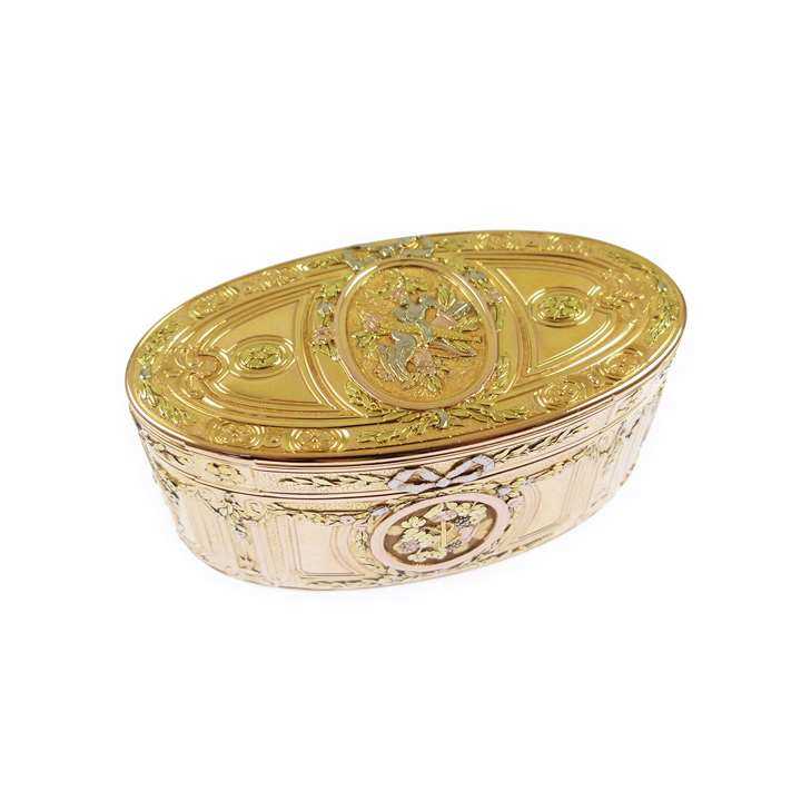 Louis XV oval vari-coloured gold box by Noel Hardivilliers