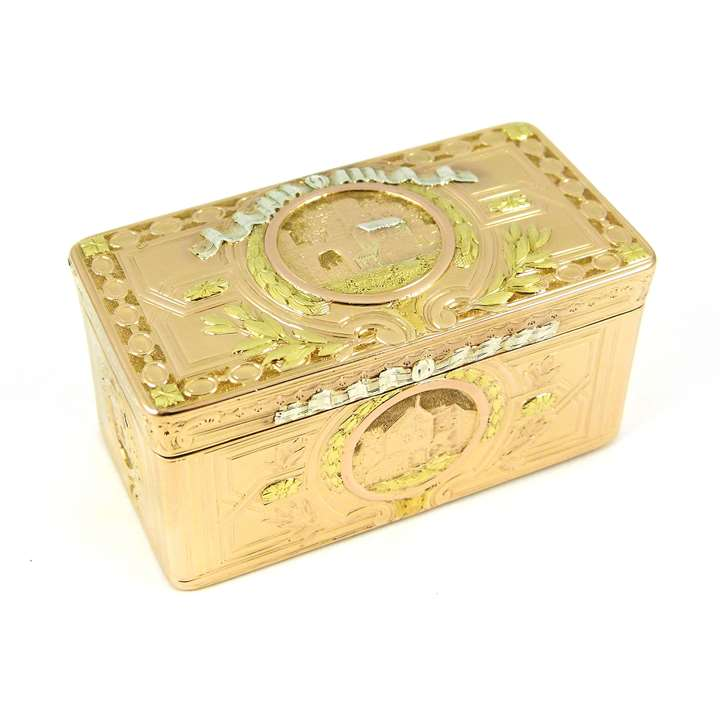Louis XV rectangular chased four colour gold box