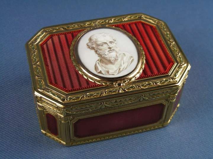 Louis XV rectangular cut corner enamelled gold box by Joseph Etienne Blerzy