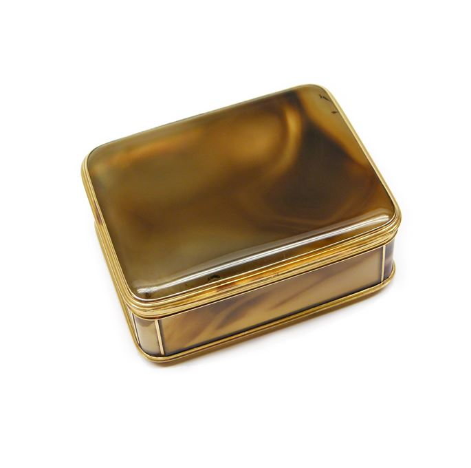 Louis XV rectangular gold mounted banded agate box | MasterArt