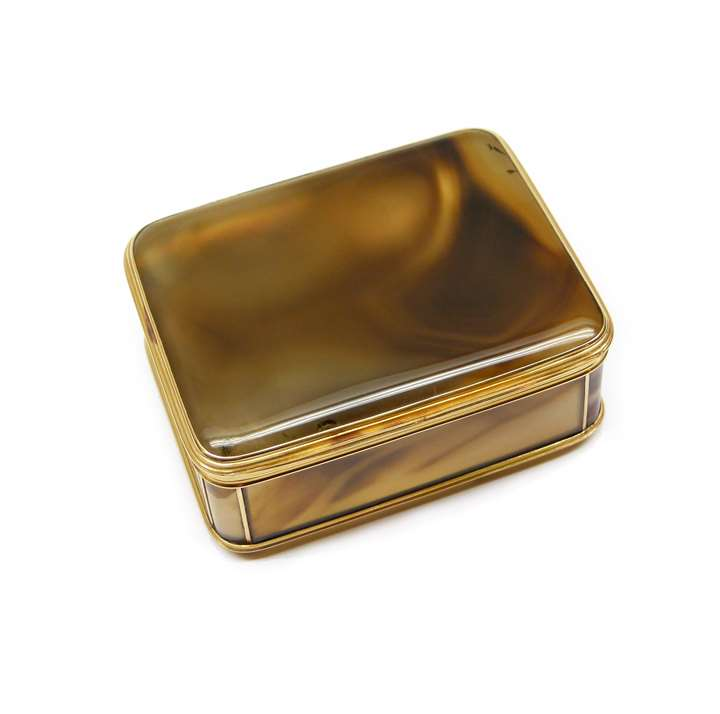 Louis XV rectangular gold mounted banded agate box