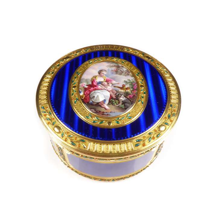 Louis XV round gold and enamel box with miniature