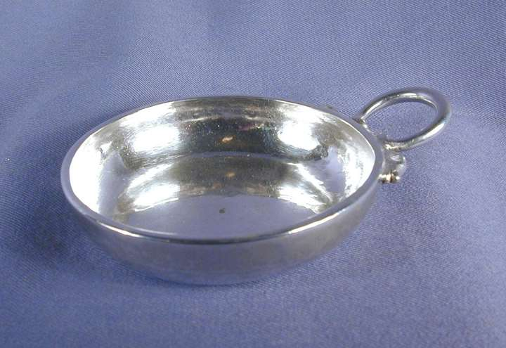 Louis XV silver circular wine taster with snake handle