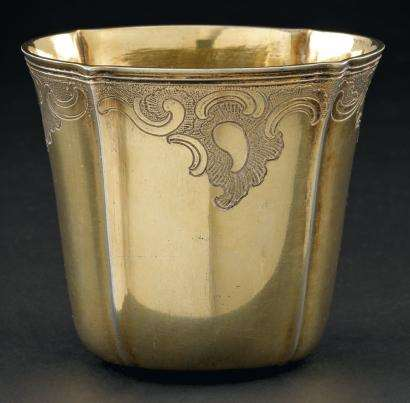 Louis XV silver gilt hunting beaker, engraved with scroll decoration.
