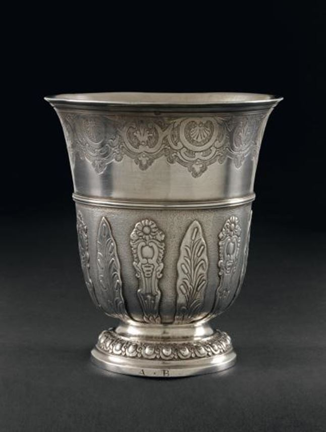 Louis XV silver tulip form beaker with regence decoration and strapwork by Antoine Plot, Paris 1748 | MasterArt