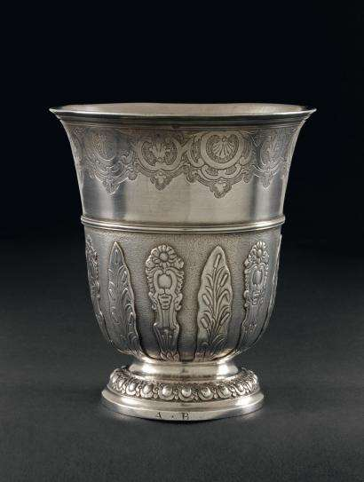 Louis XV silver tulip form beaker with regence decoration and strapwork by Antoine Plot, Paris 1748