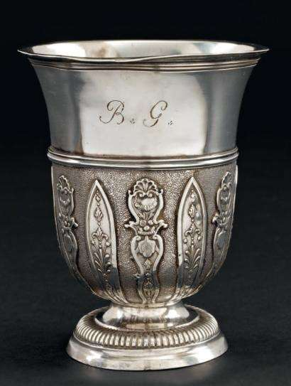 Louis XV tulip shaped silver beaker by Charles Payen