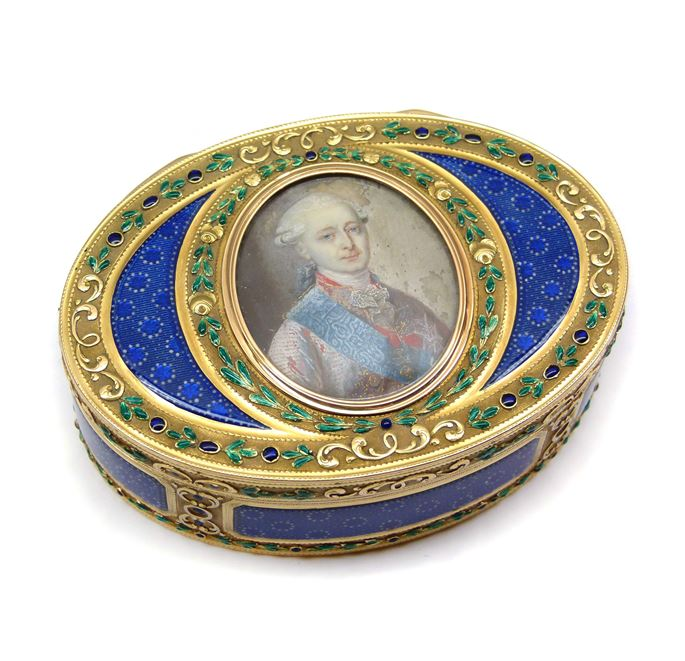 Louis XVI oval enamel and gold box with portrait miniature | MasterArt