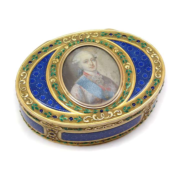 Louis XVI oval enamel and gold box with portrait miniature
