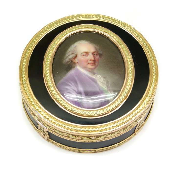 Louis XVI vari-coloured gold mounted tortoiseshell and portrait miniature box
