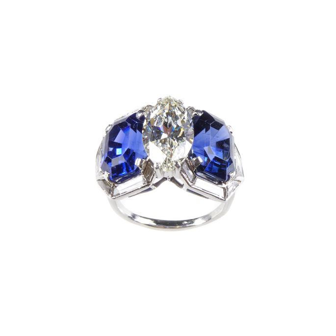 Marquise diamond and sapphire set three stone geometric cluster ring | MasterArt