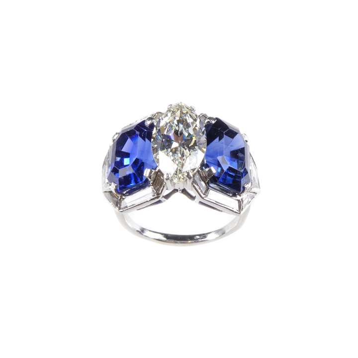 Marquise diamond and sapphire set three stone geometric cluster ring