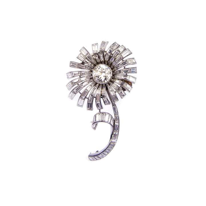 Mid 20th century diamond set stylised flower brooch