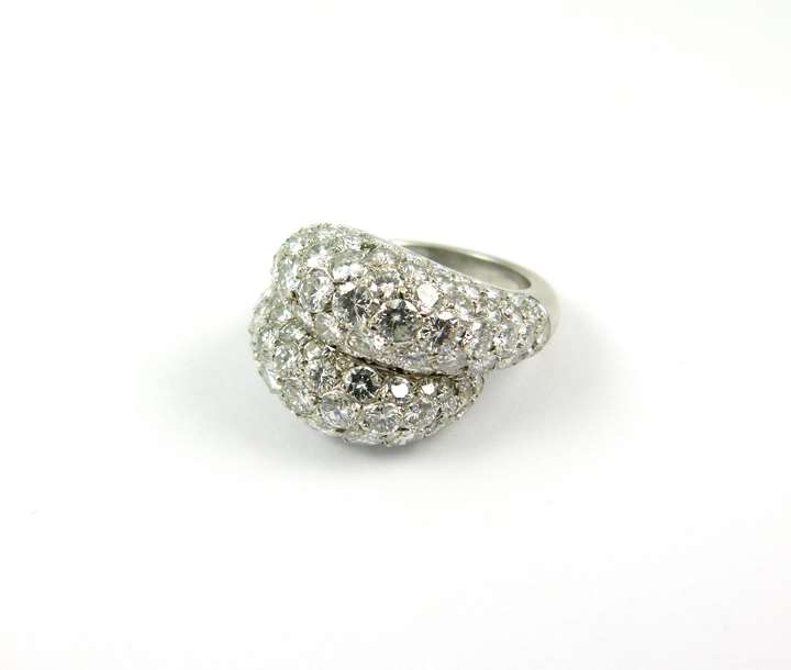 Mid 20th century pave diamond crossover cluster ring