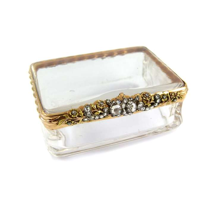Mid-18th century rock-crystal, gold and diamond rectangular box