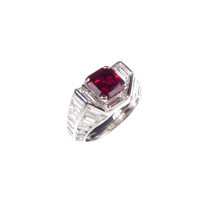 Burma ruby and baguette diamond cluster ring of architectural design