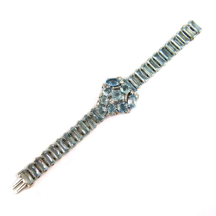 Mid-20th century aquamarine and diamond cluster bracelet