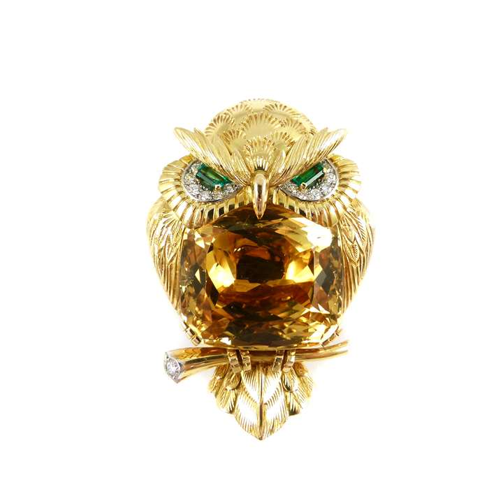 Mid-20th century citrine, emerald, diamond and gold owl brooch