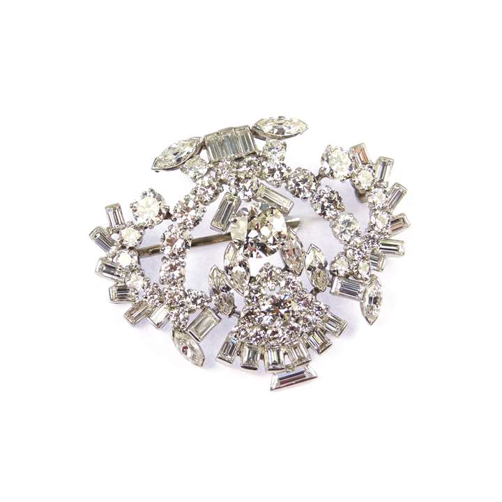 Diamond scroll cluster brooch