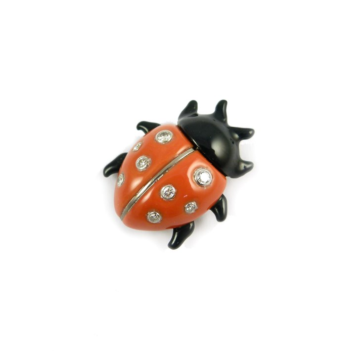 Mid-20th century enamel and diamond ladybird brooch