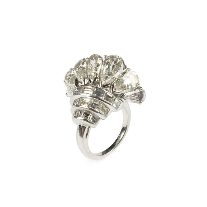 Mid-20th century pear diamond fan cluster ring