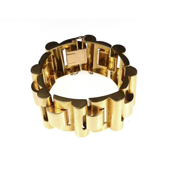 Mid-20th century retro gold articulated tank bracelet | MasterArt