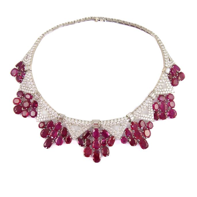 Mid-20th century ruby and diamond cluster necklace with a zig-zag fringe of Burma rubies | MasterArt
