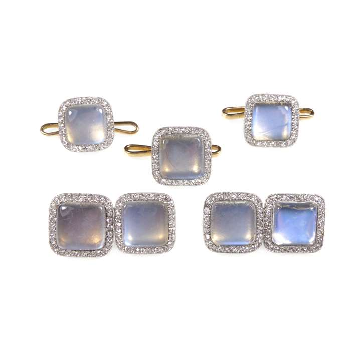 Moonstone and diamond cushion panel gentleman's dress set comprising a pair of cufflinks and three buttons