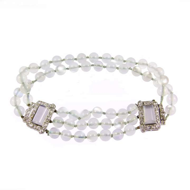 Moonstone bead and diamond and moonstone bracelet
