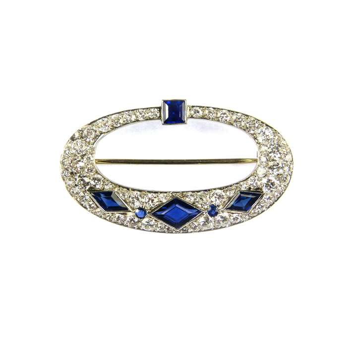Openwork oval diamond and sapphire brooch