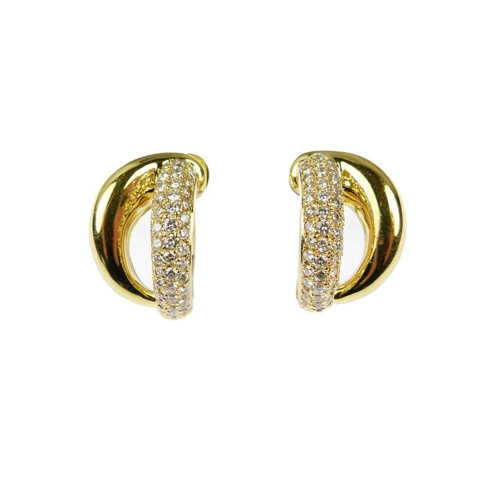 Pair of 18ct gold and diamond double scroll hoop earrings