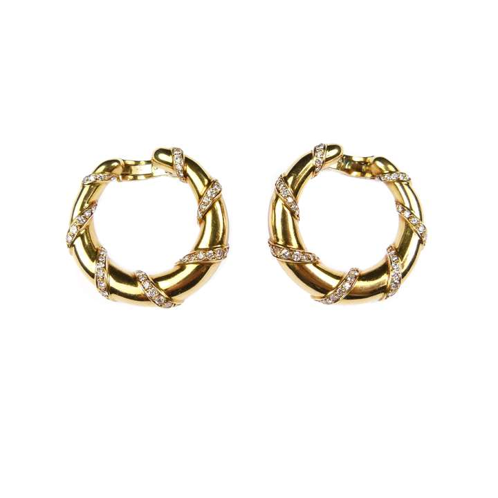 Pair of 18ct gold and diamond hoop earrings