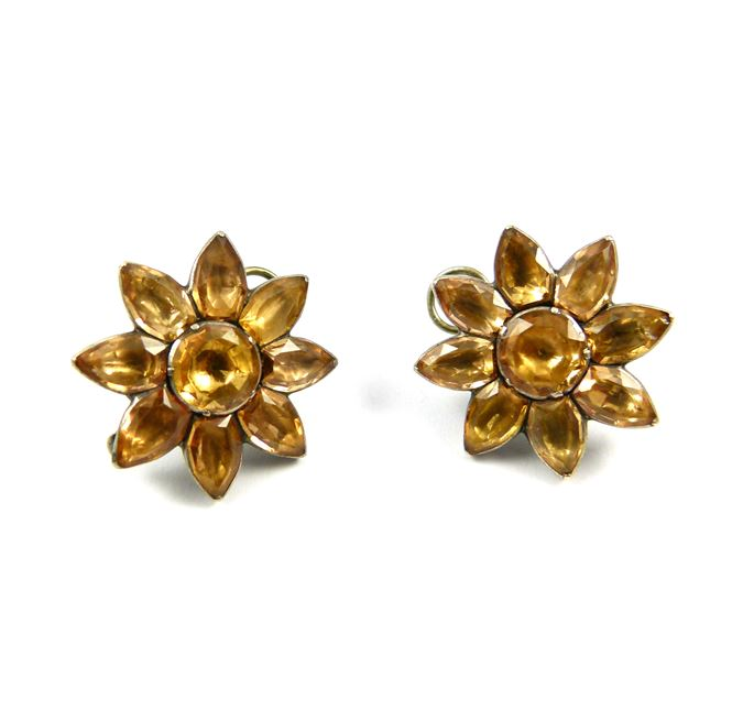 Pair of 18th century Portuguese topaz eight petal flower cluster earrings, close set in silver | MasterArt