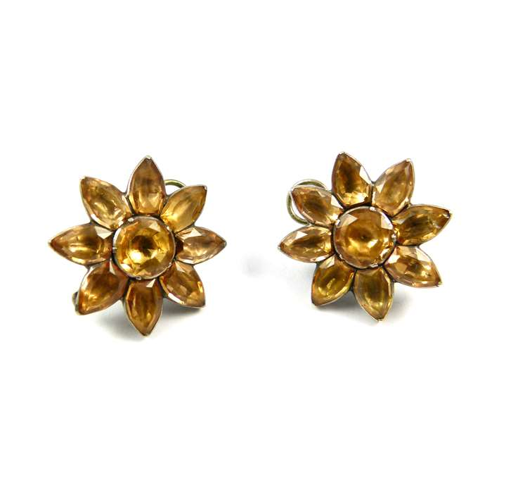 Pair of 18th century Portuguese topaz eight petal flower cluster earrings, close set in silver