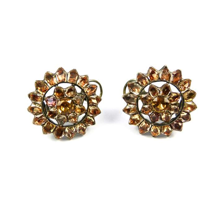 Pair of 18th century Portuguese topaz open cluster earrings