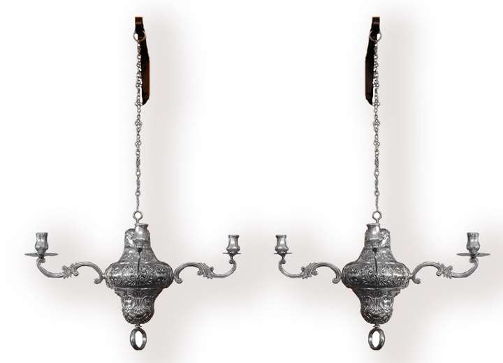 Pair of 18th century Spanish silver four light chandeliers