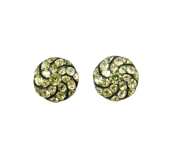 Pair of 18th century chrysolite cluster button brooches