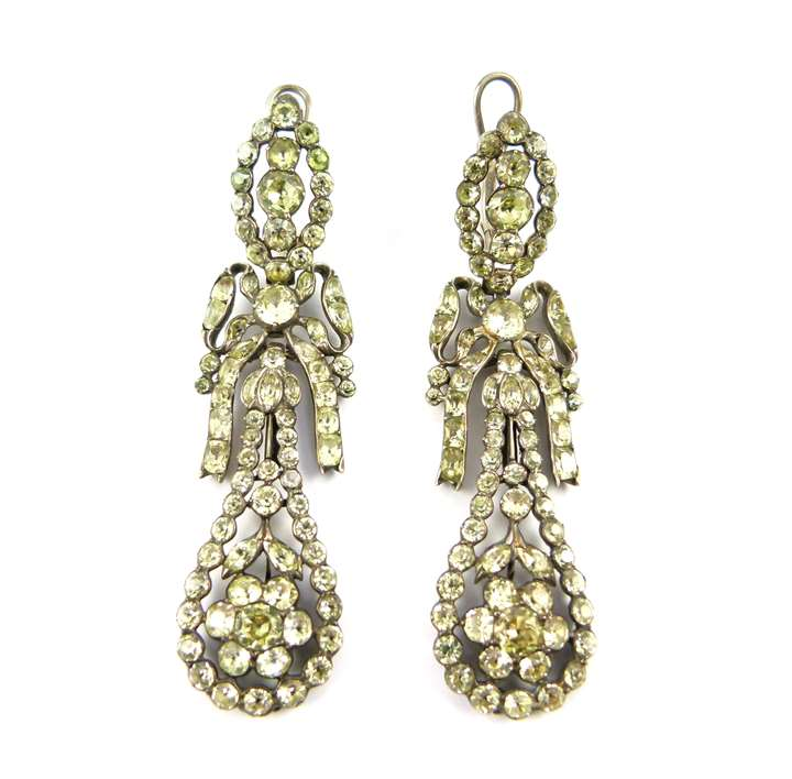 Pair of 18th century chrysolite openwork cluster drop earrings