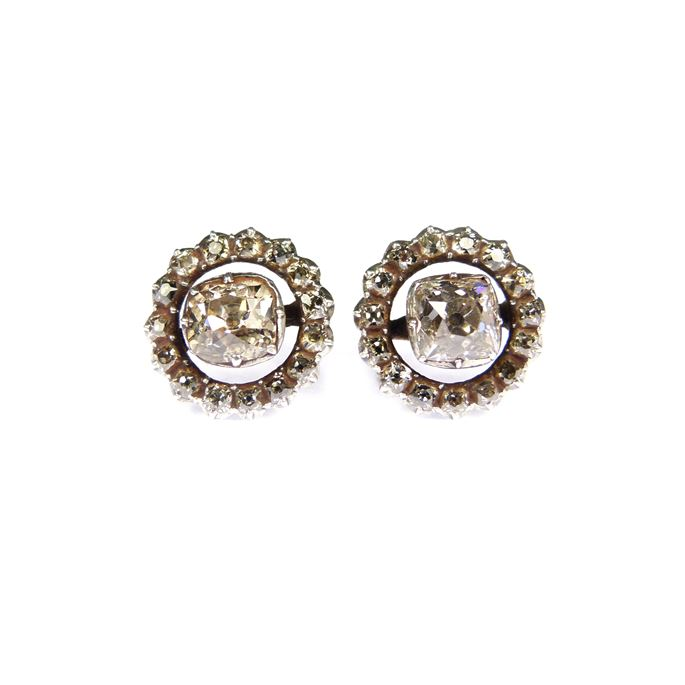 Pair of 18th century diamond cluster stud earrings | MasterArt