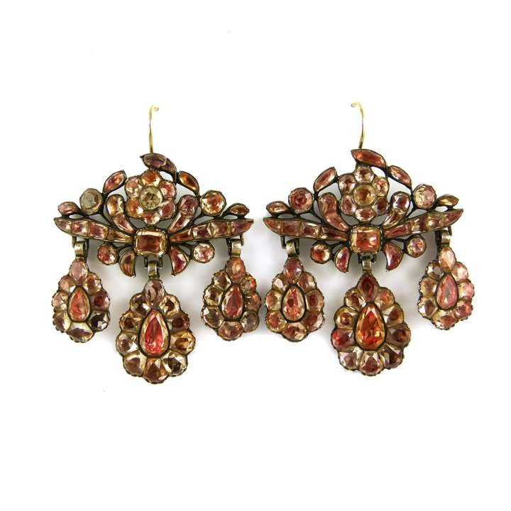 Pair of 18th century foiled orange topaz triple drop pendant earrings