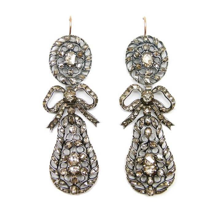 Pair of 18th century rose diamond openwork pendant earrings