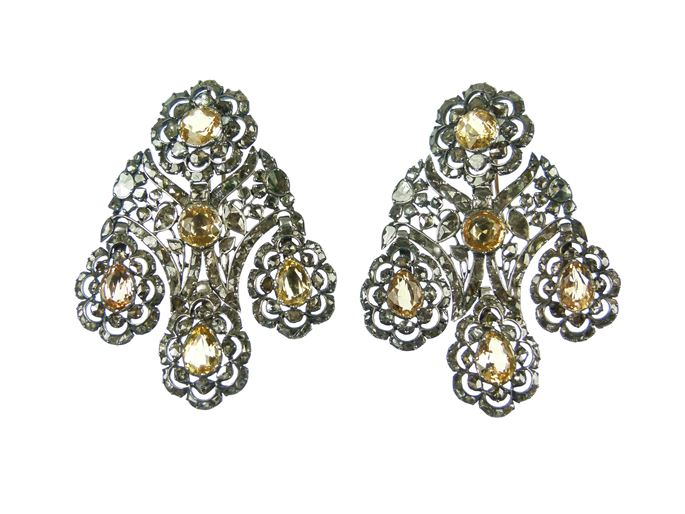 Pair of 18th century yellow topaz and diamond girandole pendant earrings | MasterArt
