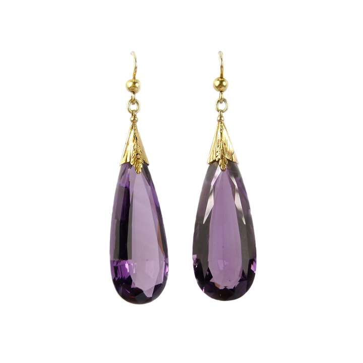 Pair of 19th century amethyst drop earrings